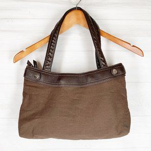 Thirty One Brown Fabric Shoulder Bag Purse Tote